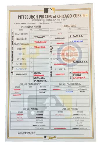 Photo of Game-Used Lineup Card from Pirates vs. Cubs on 7/9/17 - Cervelli Grand Slam and McCutchen HR Highlight 10 Run 1st Inning