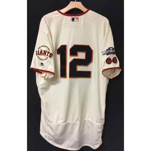 Photo of San Francisco Giants Joe Panik 2016 Game-Used Postseason Home jersey (size 48, authenticated NLDS Game #3 and NLDS Game #4 vs Cubs)