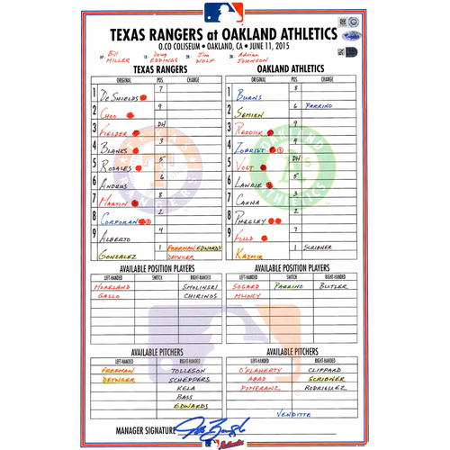 Photo of Texas Rangers Game-Used Lineup Card vs. Oakland Athletics on June 11, 2015