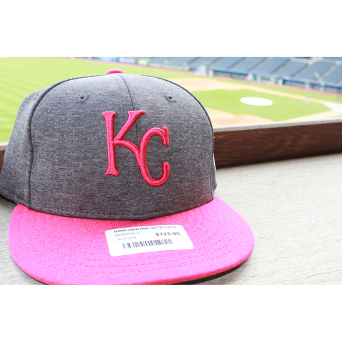 Photo of Whit Merrifield Game-Used Mother's Day Cap: May 14, 2017 BAL at KC (Size 7 3/8)