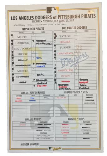 Photo of Game-Used Lineup Card from Pirates vs. Dodgers on 8/21/17 - Back-to-Back HRs by Osuna and Rodriguez, Granderson Grand Slam