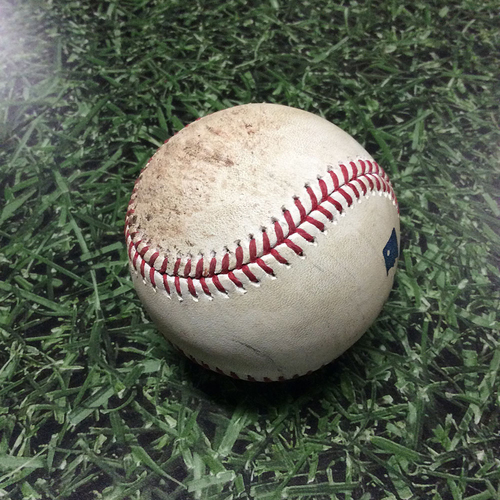 Photo of Game-Used Baseball 07/02/17 MIA@MIL - Rob Scahill to Ichiro Suzuki: Foul Ball