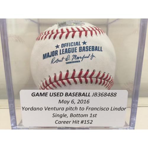 Photo of Game Used Baseball: Francisco Lindor Single, Career Hit #152