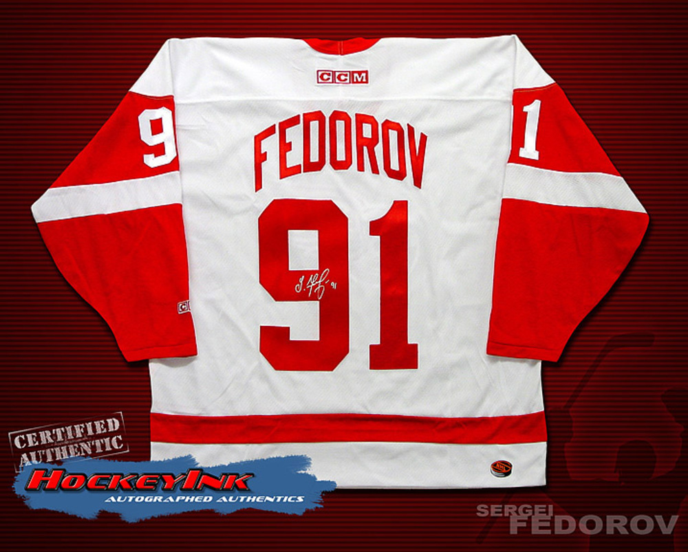 SERGEI FEDOROV Signed White Detroit Red Wings Jersey