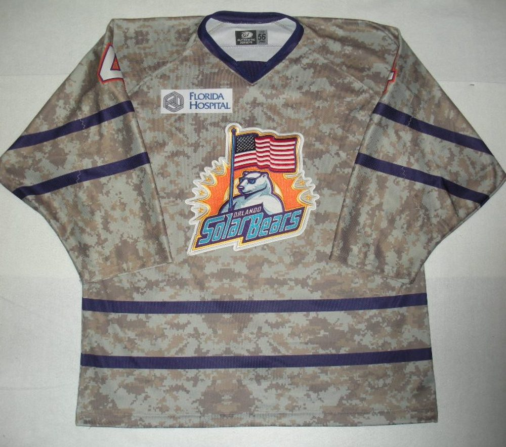 Orlando Solar Bears - Bryce Aneloski - Military Appreciation Night Camo Game-Worn Jersey