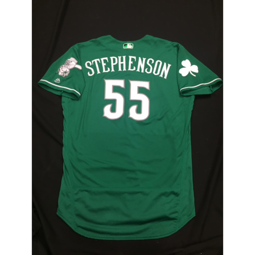 Photo of Robert Stephenson -- Game-Used -- Irish Heritage Jersey -- Worn for Bronson Arroyo Farewell Game -- Red Sox vs. Reds -- 9/23/17