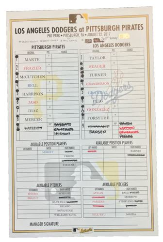 Photo of Game-Used Lineup Card from Pirates vs. Dodgers on 8/22/17 - Adrian Gonzalez Records 2000th Career Hit