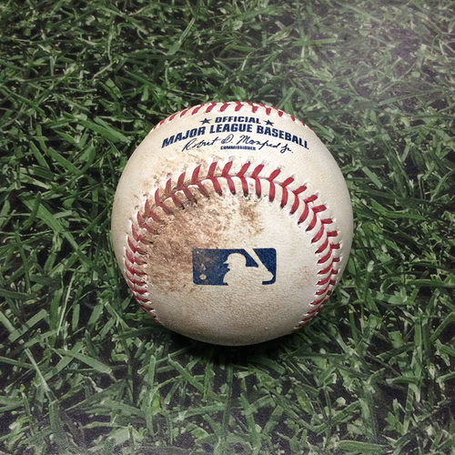 Photo of Game-Used Baseball 07/01/17 MIA@MIL - Zach Davies to Giancarlo Stanton: Ball 4, Walk