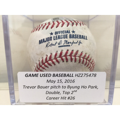 Photo of Game Used Baseball: Byung Ho Park (Minnesota Twins) Double, Career Hit #26
