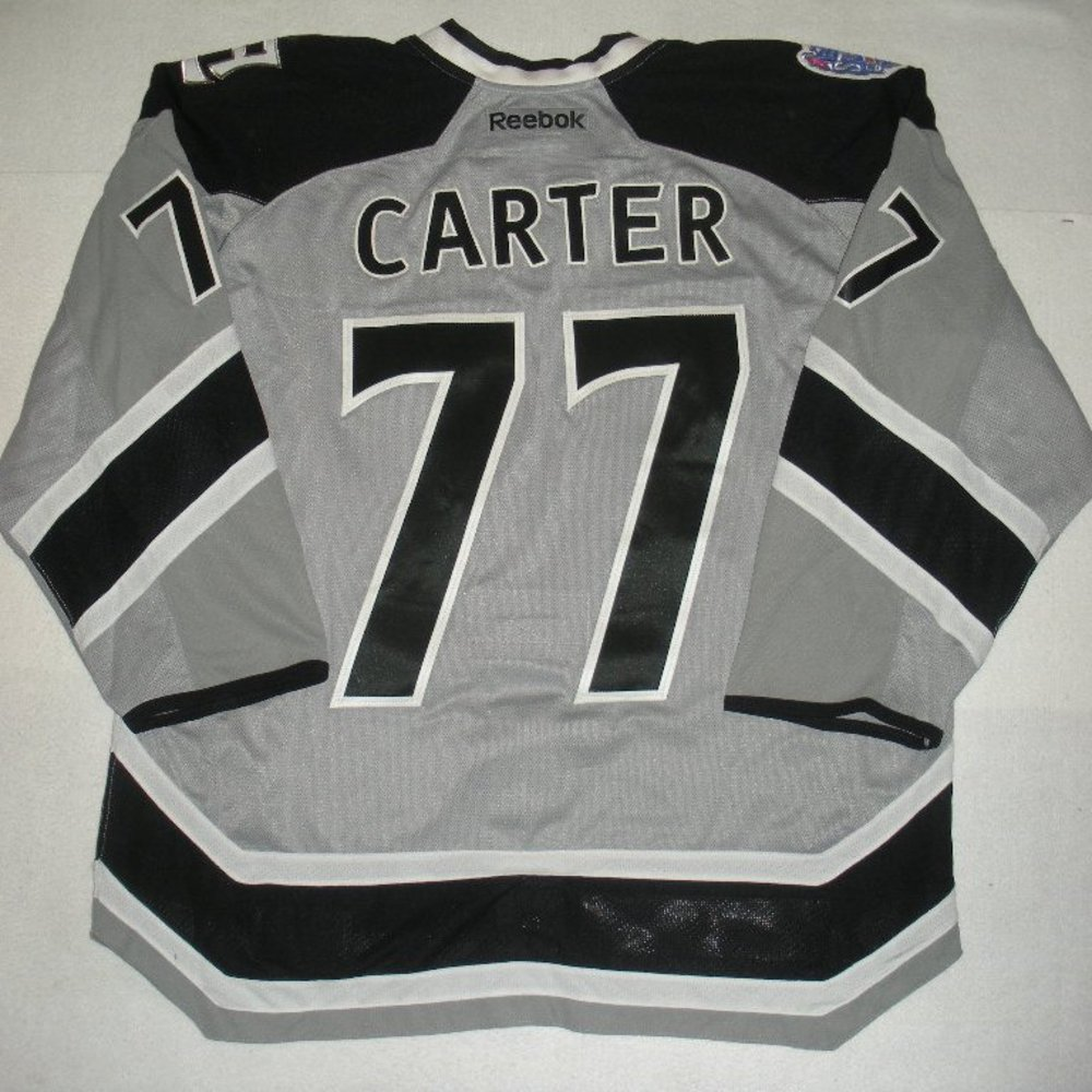 Jeff Carter - 2014 Stadium Series - Los Angeles Kings - Silver Game-Worn Jersey - Worn in First Period