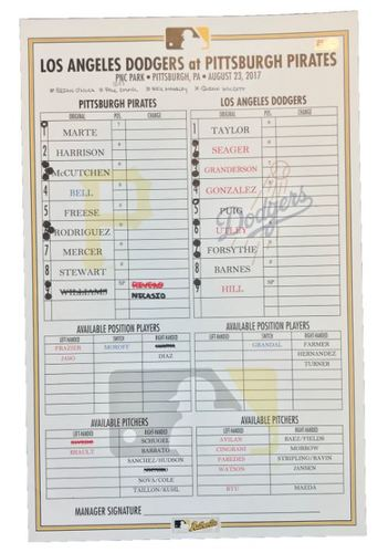 Photo of Game-Used Lineup Card from Pirates vs. Dodgers on 8/23/17 - Josh Harrison 10th Inning Walk-Off HR to End No-Hitter