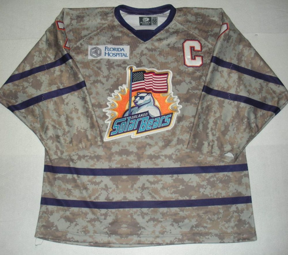 Orlando Solar Bears - Eric Baier - Military Appreciation Night Camo Game-Worn Jersey w/C