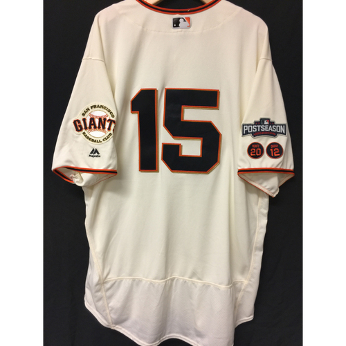 Photo of San Francisco Giants Bruce Bochy 2016 Game-Used Postseason Home jersey (size 52, authenticated NLDS Game #3 and NLDS Game #4 vs Cubs)