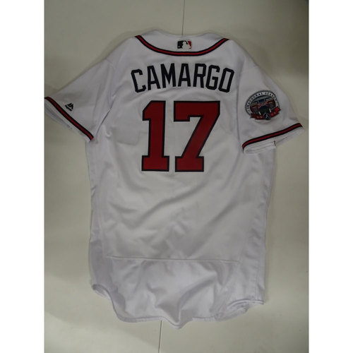 Photo of Johan Camargo Game-Used Jersey Worn on Opening Day at SunTrust Park - April 14, 2017