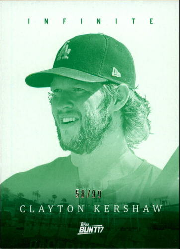 Photo of 2017 Topps Bunt Infinite Green #ICK Clayton Kershaw