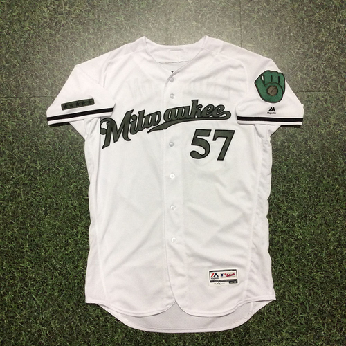 Photo of Chase Anderson Memorial Day Tribute Game-Used Jersey - Win #3, Career High 11 Strikeouts, No-Hitter Thru 7.0 IP (05/27)