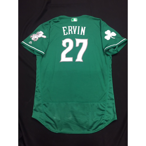 Photo of Phillip Ervin -- Game-Used -- Irish Heritage Jersey -- Worn for Bronson Arroyo Farewell Game -- Red Sox vs. Reds -- 9/23/17