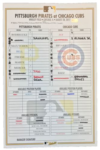 Photo of Game-Used Lineup Card from Pirates vs. Cubs on 8/28/17 - Mercer HR