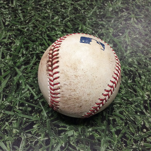 Photo of Game-Used Baseball 06/03/17 LAD@MIL - Rich Hill to Domingo Santana: Double