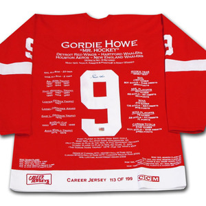 Gordie Howe Autographed Detroit Red Wings Limited-Edition Career Stats Jersey