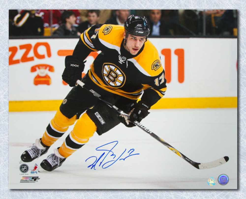Milan Lucic Boston Bruins Autographed Action 16x20 Photo