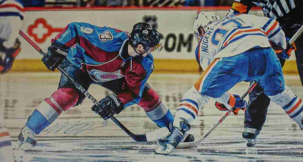 Matt Duchene - Signed 14x28 Canvas -  Avalanche Burgandy Face-Off
