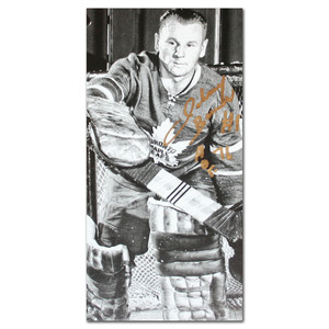 Johnny Bower Autographed Toronto Maple Leafs 14X28 Canvas