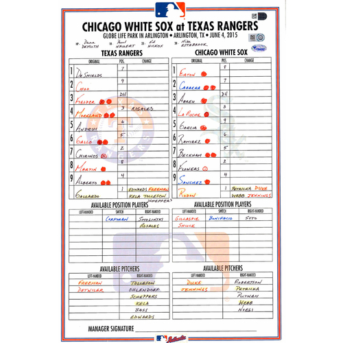 Photo of Texas Rangers Game-Used Lineup Card vs. Chicago White Sox on June 4, 2015
