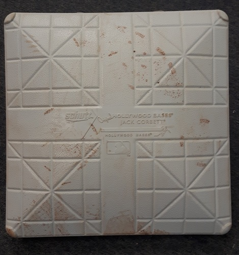 Photo of Authenticated Game Used Base - May 8, 2017. Edwin Encarnacion's return to Toronto. Third base for Innings 1-3.