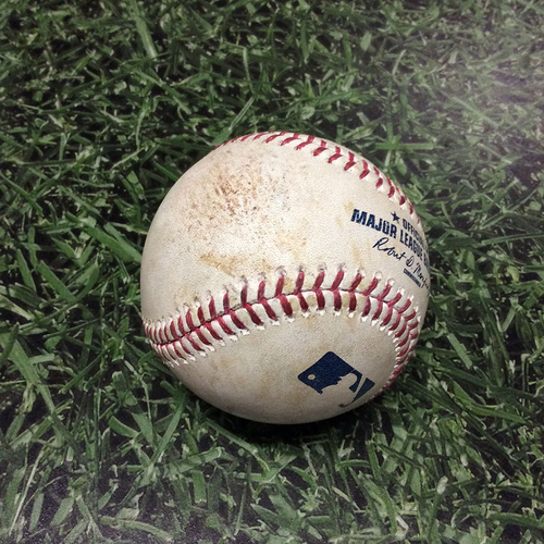 Photo of Game-Used Baseball 05/27/17 ARI@MIL - Tom Wilhelmsen to Orlando Arcia: Single