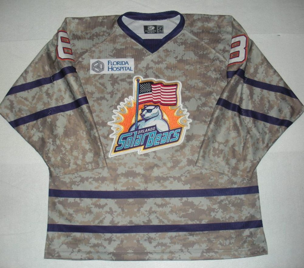 Orlando Solar Bears - C.J. Severyn - Military Appreciation Night Camo Game-Worn Jersey
