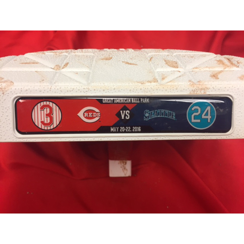Photo of Ken Griffey, Jr. -- Game-Used Base, Commemorating Ken Griffey, Jr.  -- Mariners vs. Reds on May 24, 2016