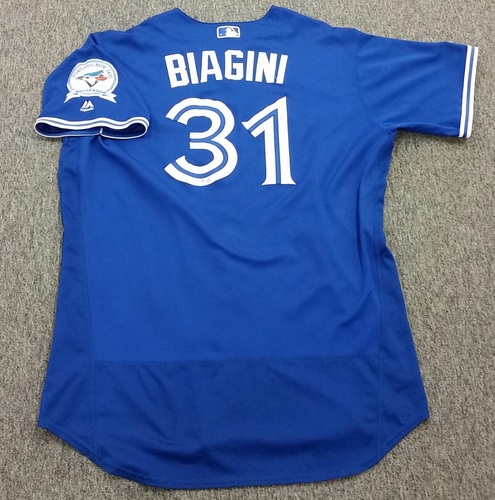 Photo of Authenticated Game-Used #31 Joe Biagini Alternate Jersey - worn Sept 11, 2016 vs Boston Red Sox. Biagini went 0.2IP, 1H, 1R, 1ER, 1BB, 1S0, 1HR.