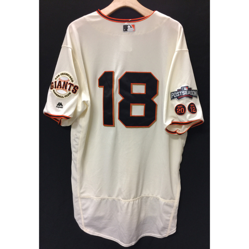 Photo of San Francisco Giants Matt Cain 2016 Team-Issued Postseason Home jersey (size 50)