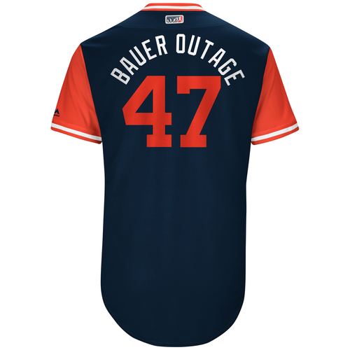 "Photo of Trevor ""Bauer Outage"" Bauer Cleveland Indians Team-Issued Players Weekend Jersey"