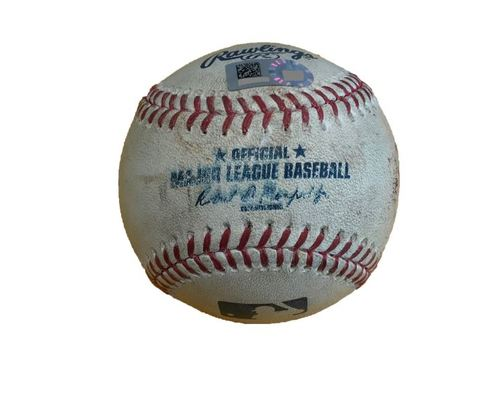 Photo of Game-Used Baseball from Pirates vs. Yankees on 4/21/17 - Romine Single, Torreyes Fly Out, Sabathia Strikeout