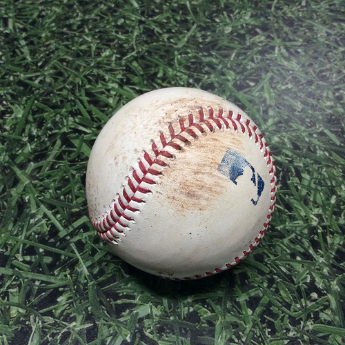 Photo of Game-Used Baseball 05/26/17 ARI@MIL - Zack Godley to Domingo Santana/Jett Bandy: Single/Single