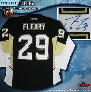 MARC ANDRE FLEURY Signed RBK Premier Black Pittsburgh Penguins Jersey