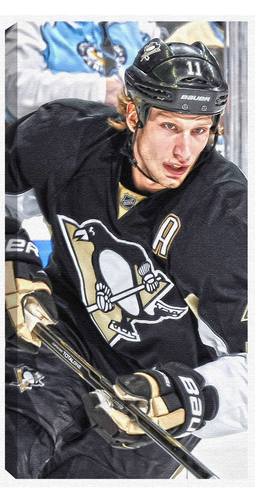 Jordan Staal - 7x14 Canvas - Pittsburgh Penguins Dark Jersey