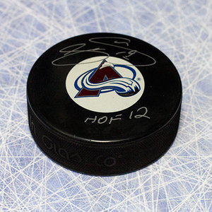 Joe Sakic Colorado Avalanche Autographed Hockey Puck w/ HOF Note
