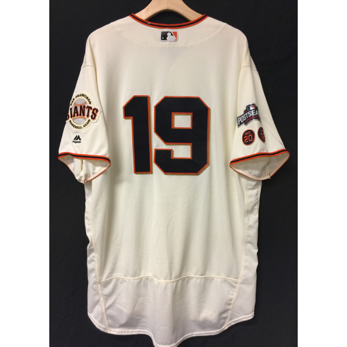Photo of San Francisco Giants David Righetti 2016 Game-Used Postseason Home jersey (size 50, authenticated NLDS Game #3 and NLDS Game #4 vs Cubs)