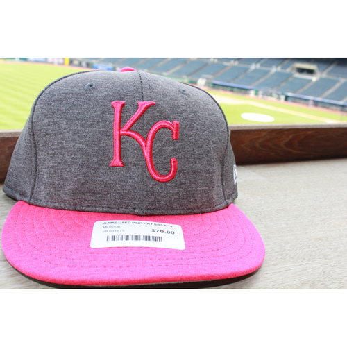 Photo of Brandon Moss Game-Used Mother's Day Cap: May 14, 2017 BAL at KC (Size 7 1/8 )
