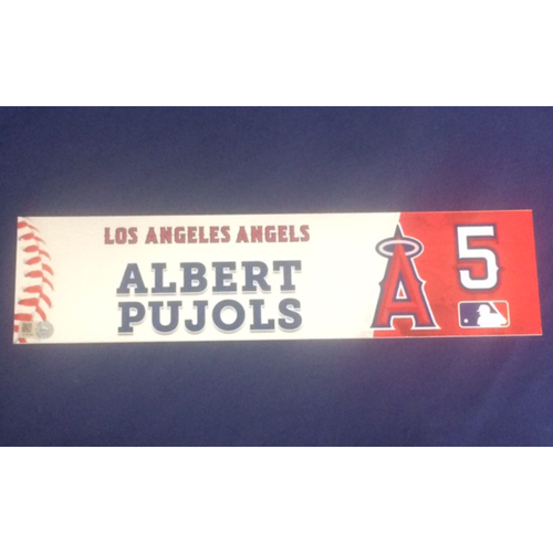 Photo of Albert Pujols 2017 Game-Used Locker Tag