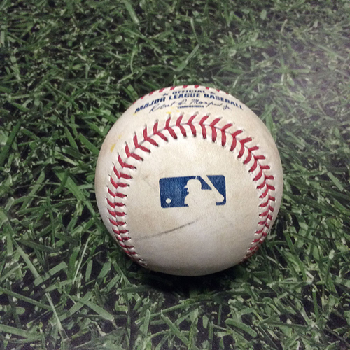 Photo of Game-Used Baseball 05/09/17 BOS@MIL - Wily Peralta to Xander Bogaerts: Foul Ball