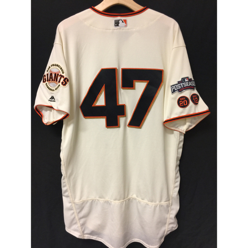 Photo of San Francisco Giants Johnny Cueto 2016 Game-Used Postseason Home jersey (size 48, authenticated NLDS Game #3 and NLDS Game #4 vs Cubs)