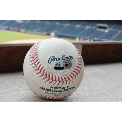 Photo of Game-Used Baseball: Mike Moustakas Double - May 12, 2017 BAL at KC