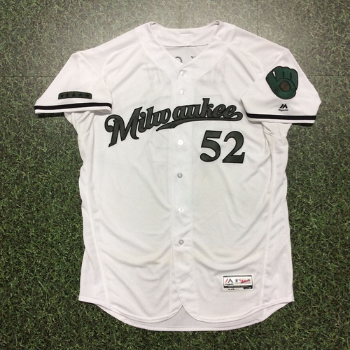 Photo of Jimmy Nelson Memorial Day Tribute Game-Used Jersey - Win #3, Season High 10 Strikeouts (05/28)