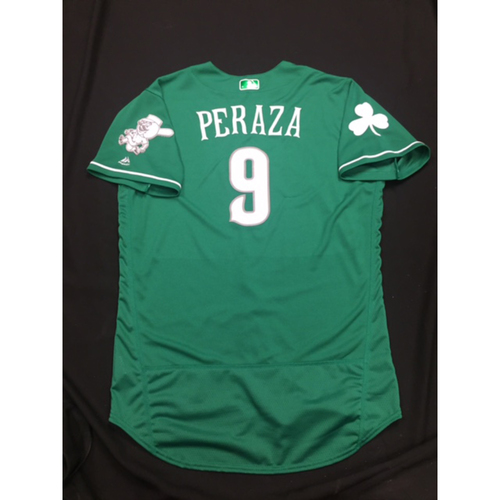 Photo of Jose Peraza -- Game-Used -- Irish Heritage Jersey -- Worn for Bronson Arroyo Farewell Game -- Red Sox vs. Reds -- 9/23/17