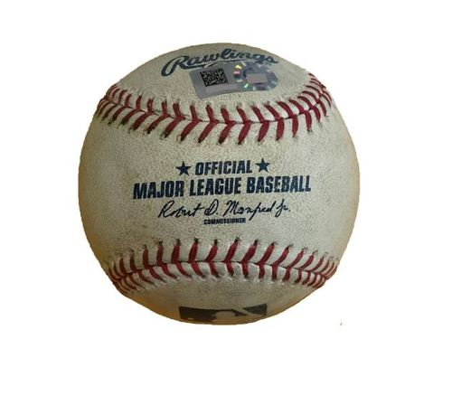 Photo of Game-Used Baseball from Pirates vs. Yankees on 4/21/17 - Romine Reaches on E5, 4 Pitches to Hicks