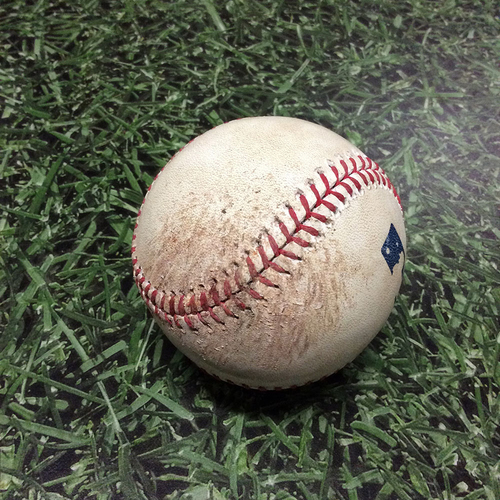 Photo of Game-Used Baseball 04/09/17 CHC@MIL: Jake Arrieta to Ryan Braun: Strikeout